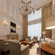 欧式简约风格客厅大型窗帘装饰