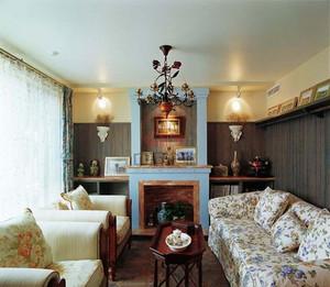 美式乡村别墅客厅装修效果图