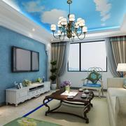 地中海风格客厅蓝色系吊顶装饰