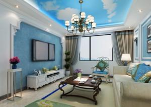 110㎡地中海风格客厅吊顶电视背景墙装修效果图