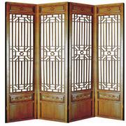 中式简约风格原木屏风装饰
