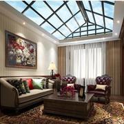 美式简约斜顶客厅窗帘装饰