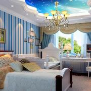 蓝色简约风格儿童房吊顶装饰