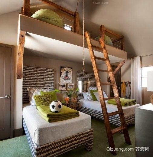 美式乡村儿童卧室装修效果图