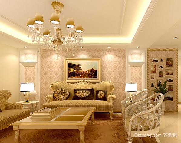 跃层式住宅客厅沙发背景墙装修效果图