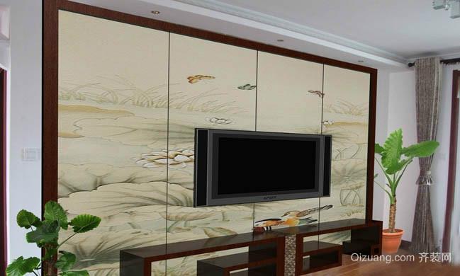 现代简约壁画电视背景墙装修效果图