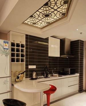 单身公寓欧式时尚厨房吧台背景墙装修效果图