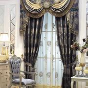 欧式简约风格大型深色古堡式窗帘装饰