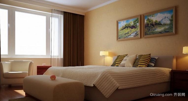 110㎡精致简约风格卧室背景墙设计装修效果图