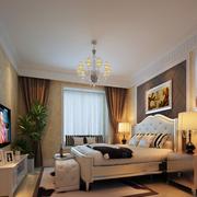 三室一厅后现代风格卧室床头背景墙装饰