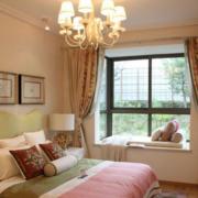 欧式简约风格卧室印花飘窗装饰