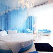 婚房浪漫蓝色卧室水晶灯