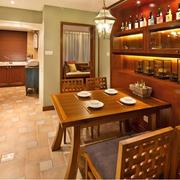东南亚别墅餐厅深色系酒柜装饰