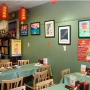 简约清新风格餐馆背景墙装饰