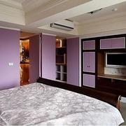 紫色卧室隐形门欣赏