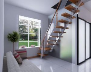 40平米现代简约风格复式楼装修效果图