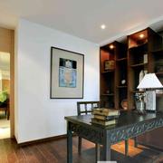 中式风格简约书房背景墙装饰