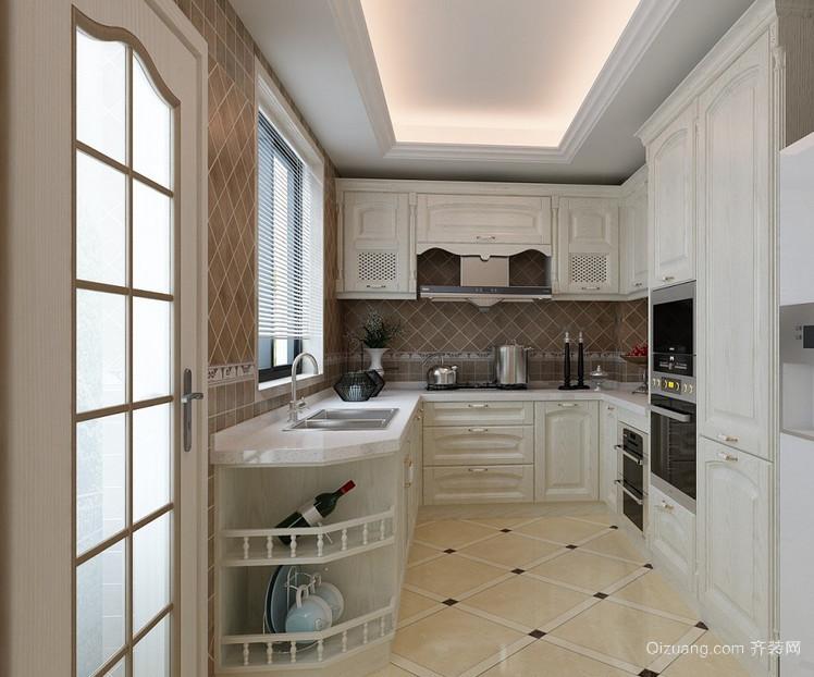 90平米大户型欧式厨房橱柜吊顶设计装修效果图