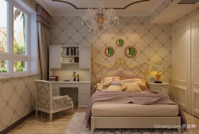 三室一厅欧式风格卧室壁纸装修效果图