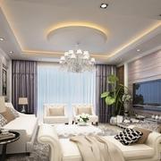 欧式风格奢华客厅圆形吊顶装饰