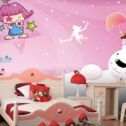 粉色系简约风格儿童房电脑桌装饰