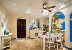 两室一厅蓝色地中海风格餐厅吊顶背景墙装修效果图