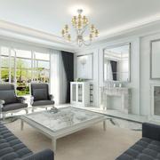 现代简约风格白色系客厅吊顶装饰
