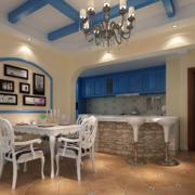 地中海简约风格餐厅吧台装饰