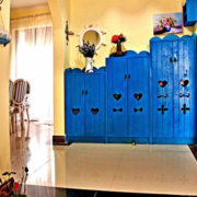 地中海蓝色系整体式鞋柜装饰