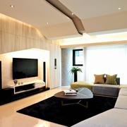 两室一厅简约风格客厅原木电视背景墙装饰