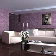 复式楼紫色系客厅墙衣装饰