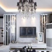 欧式简约风格白色系电视墙装饰
