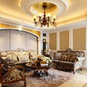 欧式经典奢华风格客厅圆形吊顶装饰