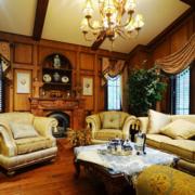 美式简约风格客厅飘窗装饰