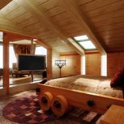 东南亚简约风格卧室原木吊顶装饰