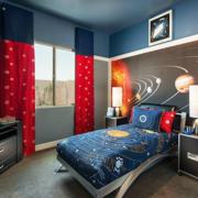 后现代风格儿童房蓝色系背景墙装饰