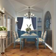 地中海简约风格餐厅石膏板吊顶装饰