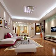 两室一厅简约风格客厅石膏板吊顶装饰