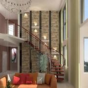 简约楼中楼客厅原木楼梯装饰