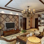 中式简约风格客厅石膏板吊顶装饰