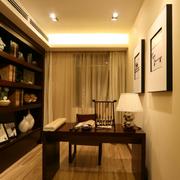 中式暖色系书房飘窗装饰
