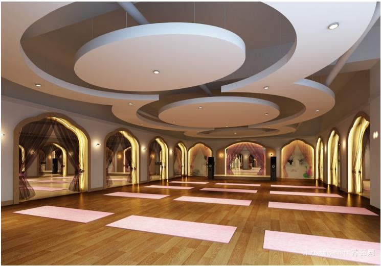 柔美瑜伽会所装修设计效果图