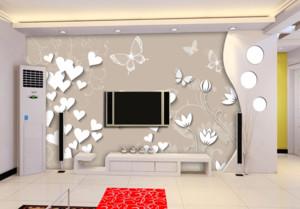 现代简约3D立体电视墙装修效果图