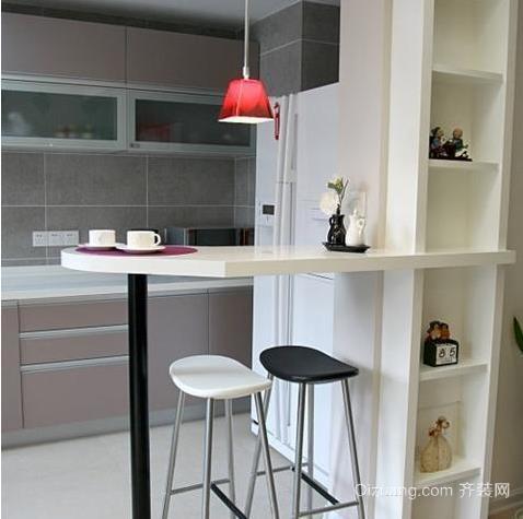 简易舒适厨房吧台装修效果图