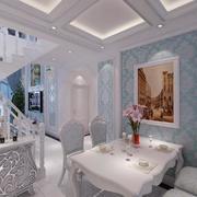 欧式白色系餐厅背景墙装饰