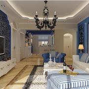 地中海风格简约客厅吊顶装饰
