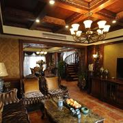 东南亚深色客厅吊顶装饰