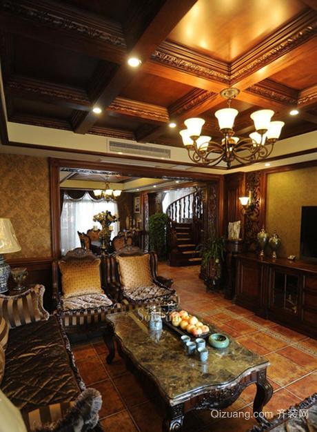 大户型热情洋溢东南亚风格客厅吊顶电视背景墙装修效果图