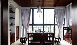 148平米古典雅致中式风格餐厅吊顶背景墙装修效果图