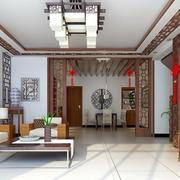 中式原木浅色电视背景墙装饰